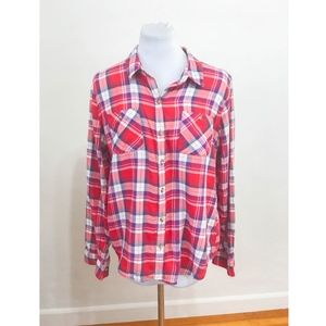 Xhiliration Red Plaid Button Down Shirt - Size XL